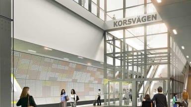 Illustration of Korsvägen station, part of the West Link in Gothenburg.