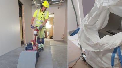 Montage: till vänster en medarbetare som river upp linoleum på ett golv. Till höger en påse med insamlat linoleum.