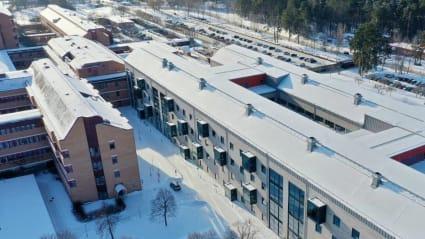 Flygbild över Ryhovs nya byggnad vid Länssjukhuset.