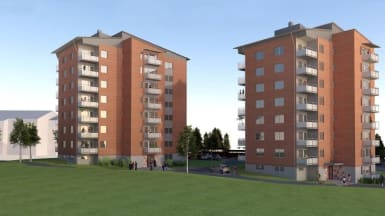 3D-illustration NCC:s folkboendehus, med en grön äng framför.