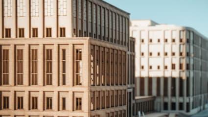 Illustrationsbild på det nya rättscentrumet i Kristianstad. Illustration: Krook & Tjäder