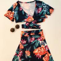 Conjunto de top y falda larga flores