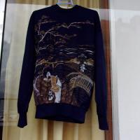 Jersey de algodón azul con estampado oriental