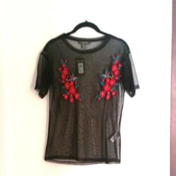 Camiseta de Gasa transparente negra