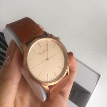 NUEVO Bratleboro Relojes ROSE GOLD Envejecido CUERO 38 MM Retro