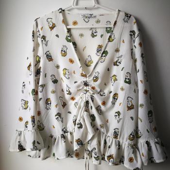 Blusa blanca estampado mujer