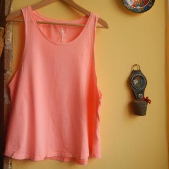 Camiseta de tirantes rosa - anaranjado fosforito