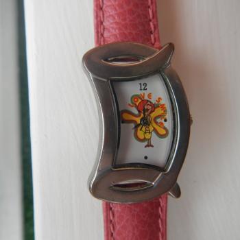 Reloj de muñeca con correa de piel rosa nueva