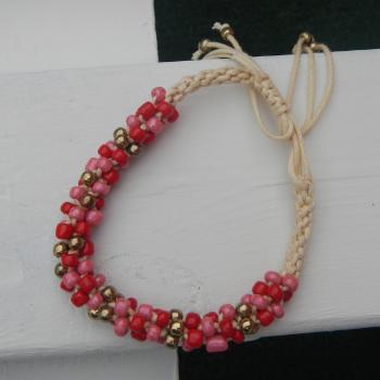 Pulsera rosa y roja