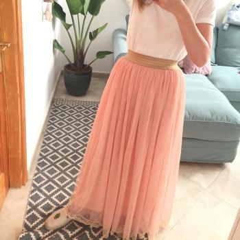 Falda de tul larga falda Maxi rosa boho