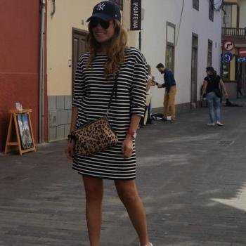 Vestido corto de rayas