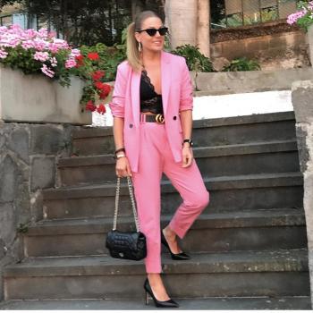 Blazer más pantalón rosa