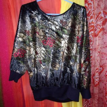Jersey de mangas largas brilloso con flores, diseño único