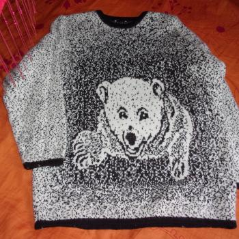 Jersey de mangs largas con dibujo de oso tejido