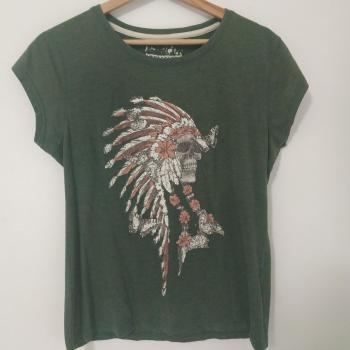 Camiseta Verde calavera india