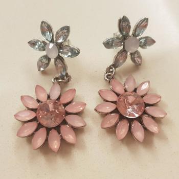 Pendientes flor rosa palo