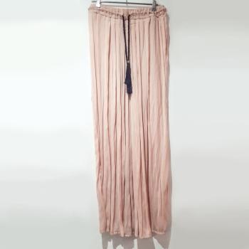 Falda maxi sedosa rosa palo
