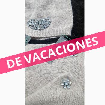 Benetton. Conjunto gorro y bufanda angora/lana detalle abalorios.