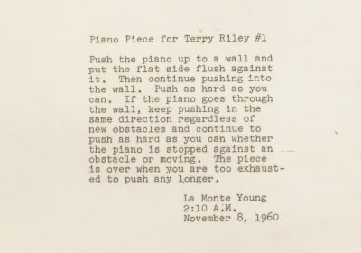 La Monte Young Piano Piece for Terry Riley #1 - © Attention Deficit Disorder Prosthetic Memory Program