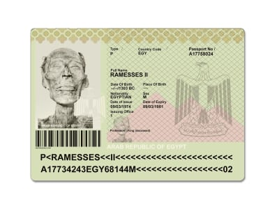 Ramses II Passeport - © Attention Deficit Disorder Prosthetic Memory Program
