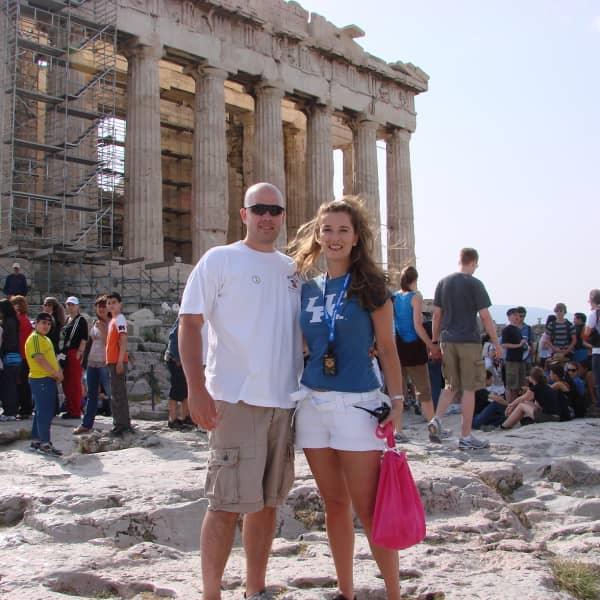 Ellie and Ben at Parthenon in Athens, Greece