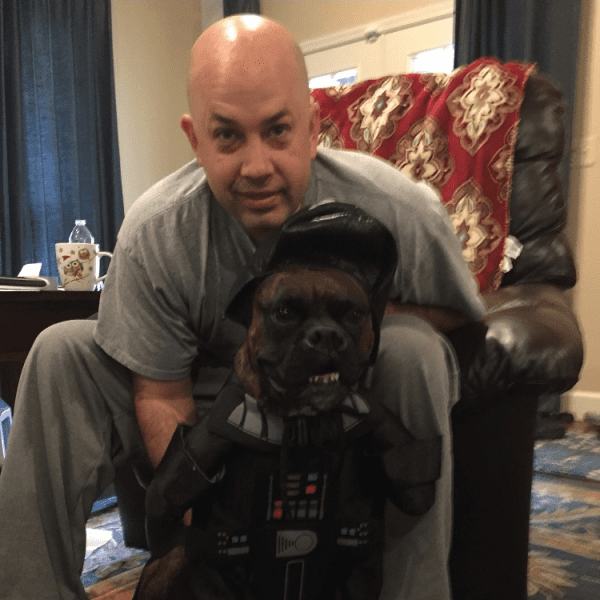 Ben with our dog Hank (Darth Vader) on Halloween