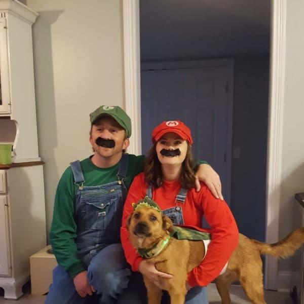 Halloween as Mario and Luigi and Yoshi!