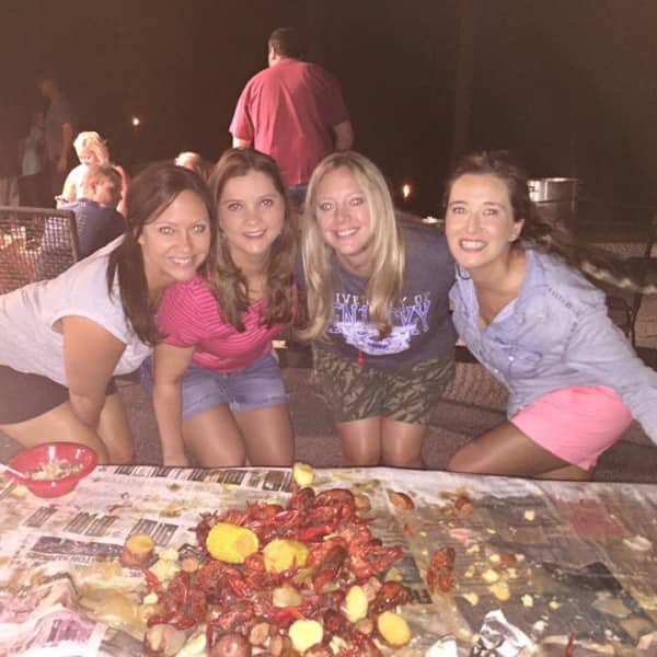 Ellie and her crew at crawfish boil: Laura, Marcy, Lindsay
