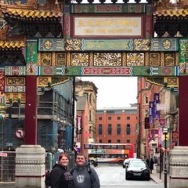 In front of the China Town Arch in Manchester England