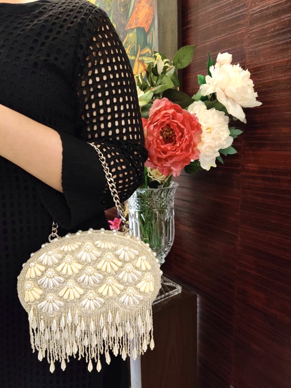 CREAM FAREEDA CLUTCH BAG image 0