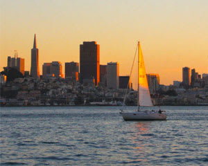 San Francisco Bay Sailing Tour, Sunset Cruise for up to 6 Passengers - 2 Hours