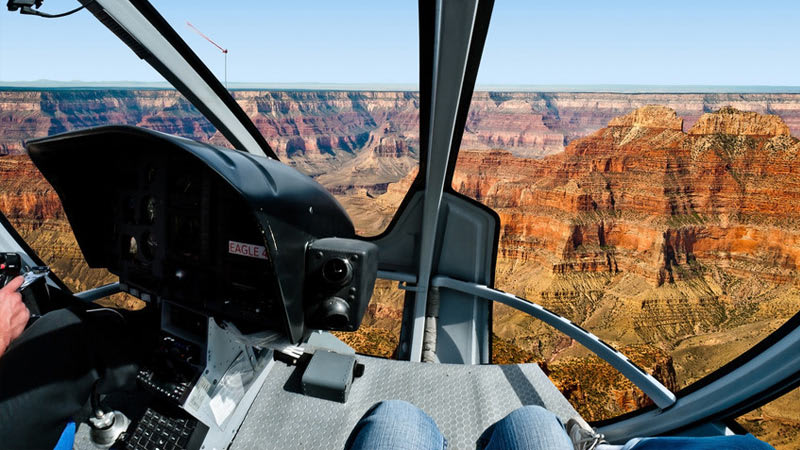 Grand Canyon Tour South Rim Helicopter Flight Cockpit
