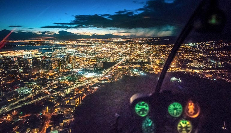 Helicopter Tour Honolulu Night Lights