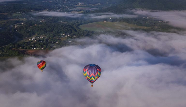 Hot Air Balloon Rides Asheville Landscape