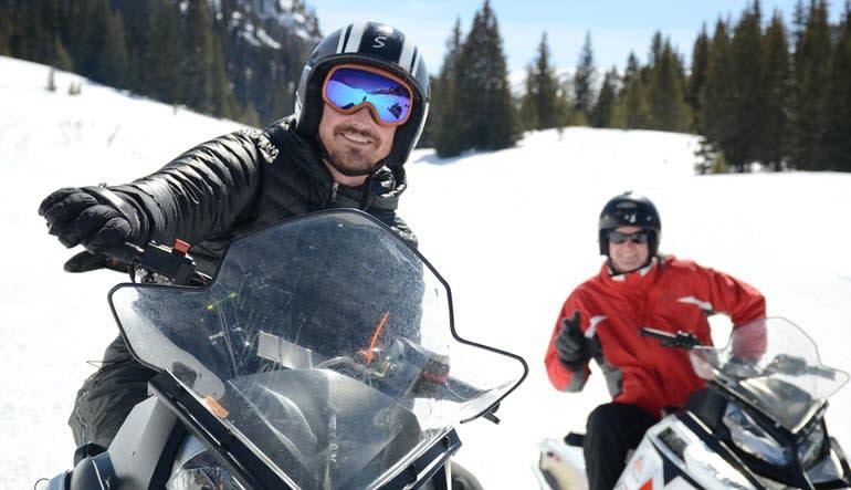Snowmobile Mountain Tour Good Friends