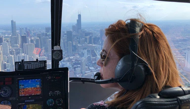 Helicopter Ride Chicago Lady