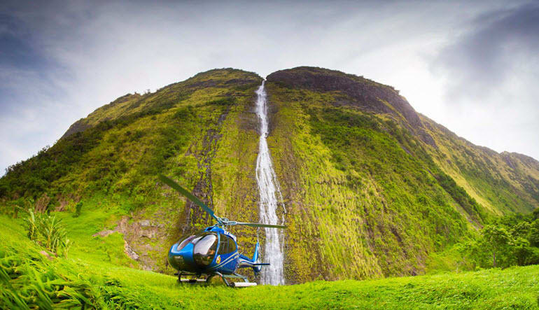 Helicopter Tour Big Island Waterfall Landed