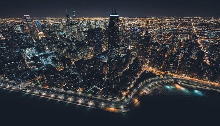 Helicopter Tour Chicago Night
