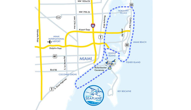 Seaplane Scenic Flight Miami Tour Map