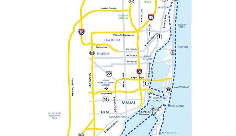 Seaplane Scenic Flight Miami and Surrounds Map