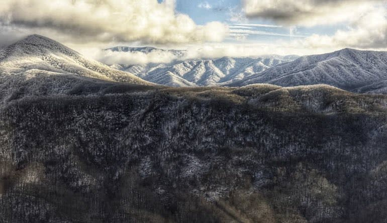 Helicopter Ride Smoky Mountains Snow
