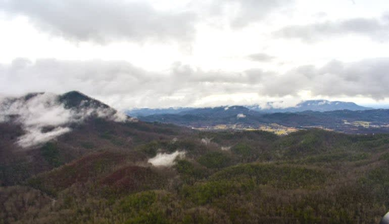 Helicopter Ride Smoky Mountains Mist