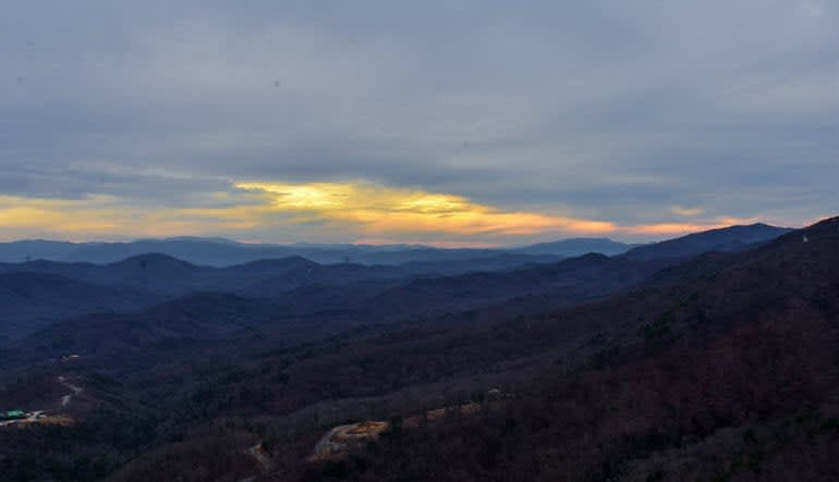Helicopter Ride Smoky Mountains Sun Going Down