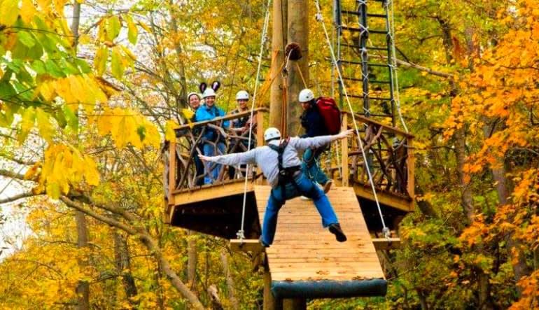 Ziplining Harpers Ferry, 8 Zip Adventure Autumn