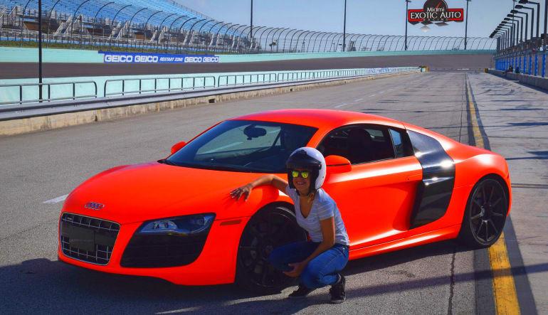 Audi R8 Drive Side View Lady