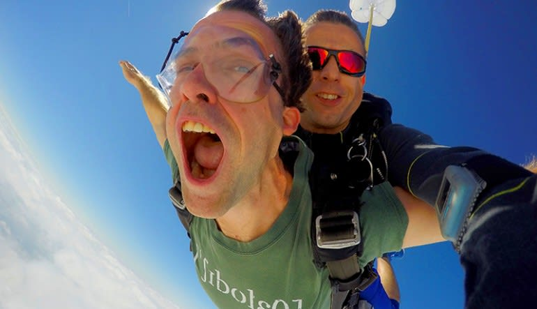 Skydiving Dallas Mouth Wide Open