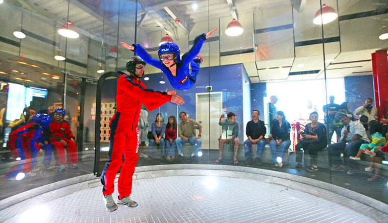 Indoor Skydiving Baltimore Instructor & Child