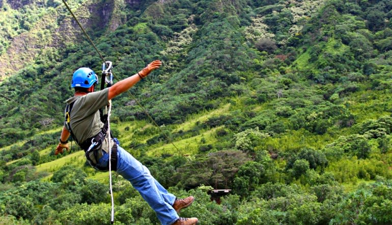 Zipline Oahu Kualoa Ranch Man