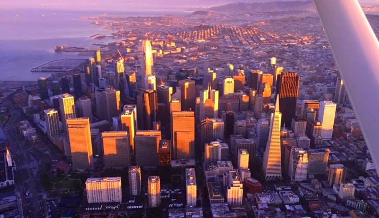 Scenic Night Flight San Francisco City