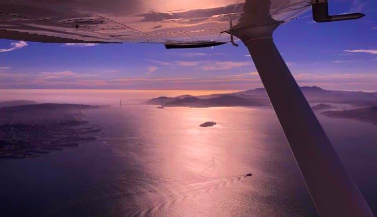 Scenic Night Flight San Francisco Bridge